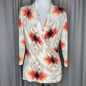 Vince Camuto Faux Wrap 3/4 Sleeve Top Sz Med